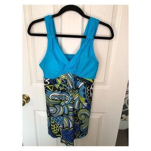 NWT Two Piece Swimsuit Dress Style size Large